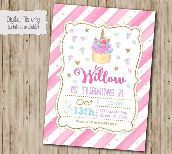 unicorn cupcake invitations unicorn cupcake birthday etsy