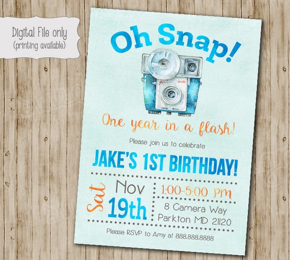 Oh Snap Camera Birthday Invitation First
