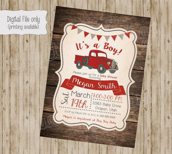 Vintage truck baby shower invitation rustic wood baby shower etsy image 0 filmwisefo