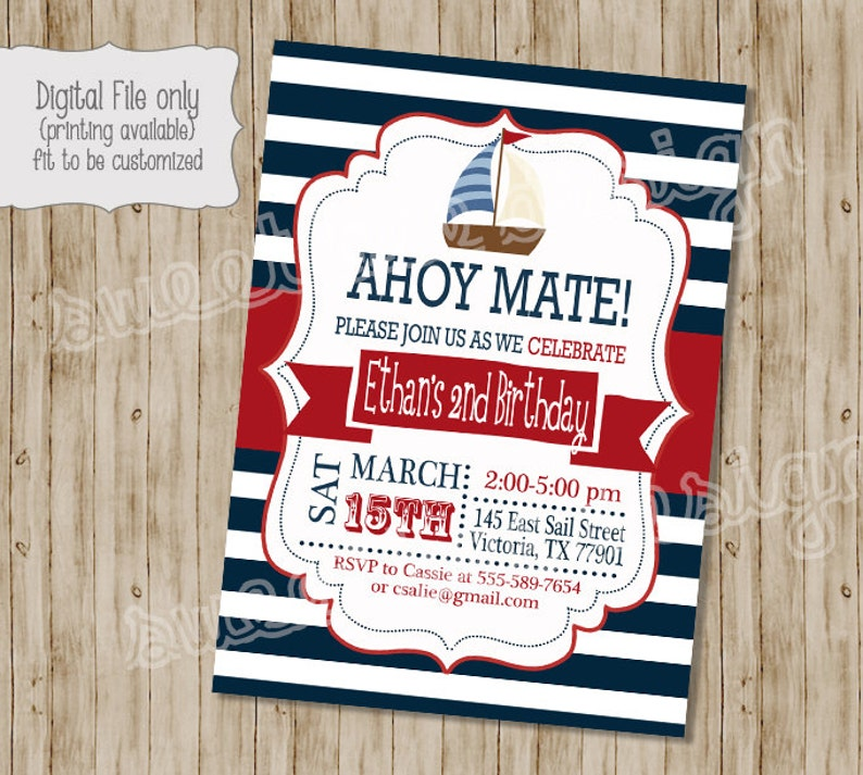 Nautical Birthday Invitation Ahoy