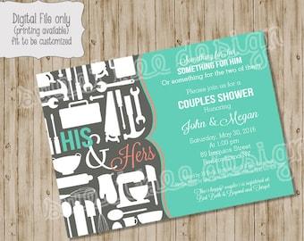 Couples Shower Invitation, Couple Shower, Bridal Shower - Pots, Pans & Power Tools,  Couples Shower Invitation - Custom Printable
