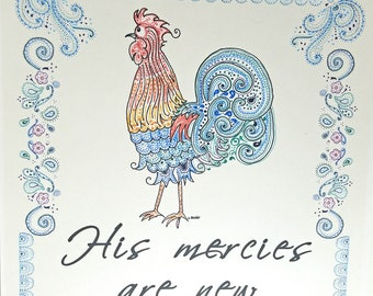 Rooster Art Print with Bible scripture His Mercies Are New 8x10