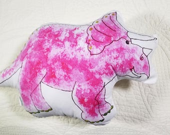 Triceratops Dinosaur Plushie Pillow Blue or Pink watercolor print home decor pink or blue