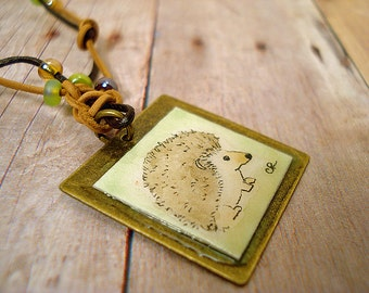 Hedgehog jewelry  pendant necklace hand painted original art on leather and chain with beads bronze finish