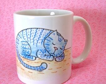 Blue Kitty mug original art sleeping cat ceramic coffee tea cup 11 oz