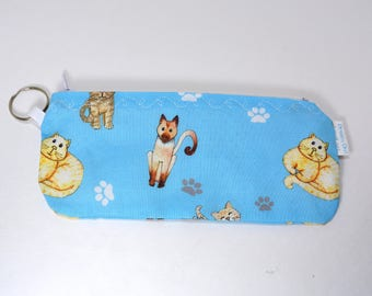 """Zippered pouch make up bag eyeglass case with turquoise Cats Kitties kittens pattern 6"""""""