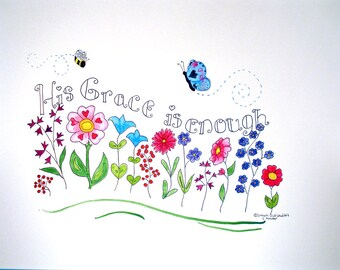Christian Wall Art  floral scripture art  original design typography   8X10
