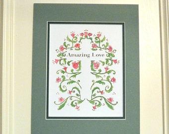 Floral Cross Amazing Love 8x10 Christian art print original art