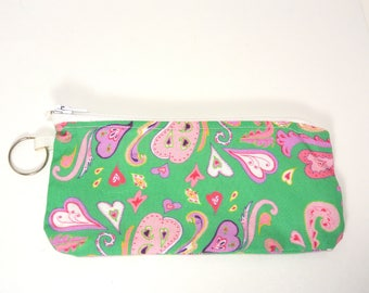 """Zippered Pouch make up bag eyeglass case green heart paisley original fabric design 7"""""""