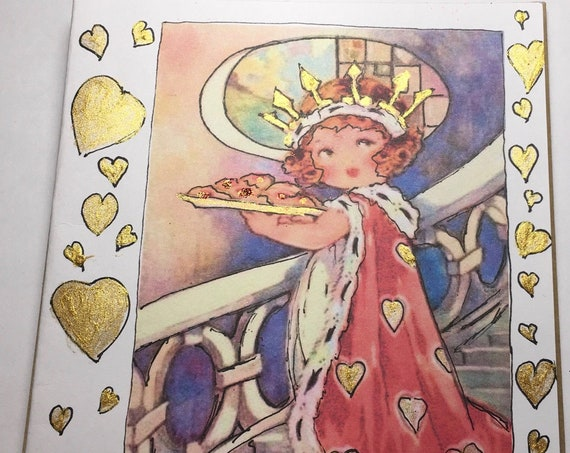 ROYAL VALENTINE Glittered Hearts, 1930's Little Shirley Temple likel Valentine Image, Art Card, Collectible Card, Free Shipping
