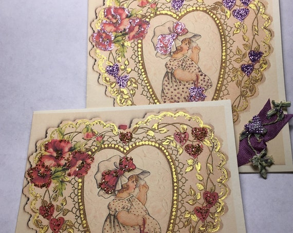 EDWARDIAN VALENTINE CARDS, A Pair of Valentine Cards Red Hearts, Purple Hearts, Lace, Ribbon, Rhinestones, Collectible Art Card, Edwardian