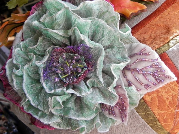 Peaceful Sea Green and Purple Textile Art Millinery Flower, Appliqué, French Ombre Ribbon, Fiber Art Corsage