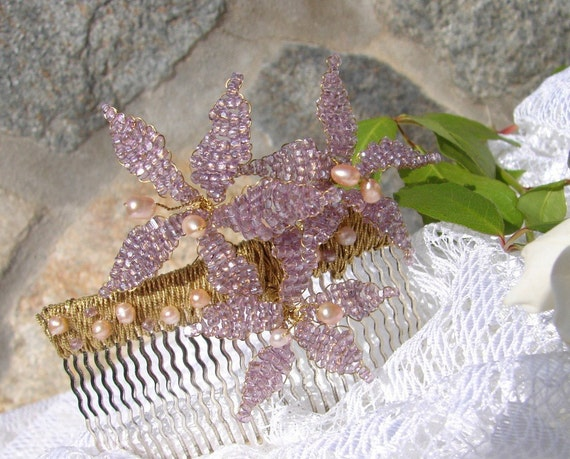 ENCHANTMENT IN AMETHYST Pink Pearls and Lilac Beaded Star Flowers Bridal Comb Wedding Accessory