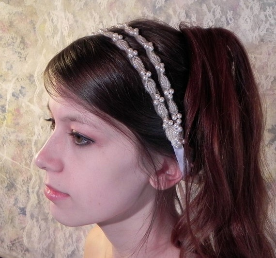 PEARL GRECIAN HEADBAND, Simple Elegance, Wedding Hairpiece, Double Bridal Headband