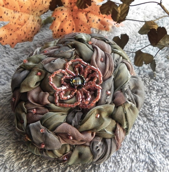Shibori Silk Wrapped Floral Applique, Corsage, Lapel Pin, Fiber Art Flower, Millinery Flower, Bridal Brooch