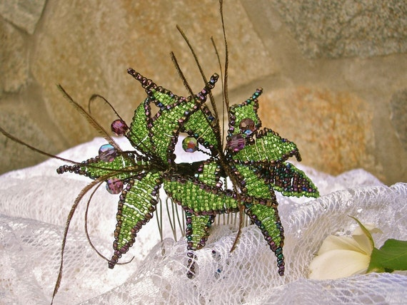 Woodland Green and Purple Beaded Lily, Fairy Wedding