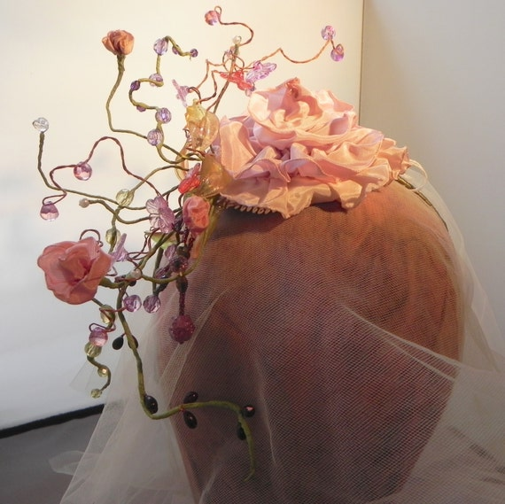 Monet's Garden, Flowered Fascinator , Bridal Headpiece, Floral Crown, Wedding Headband, Art Nouveau Hair Accessory, Floral Millinery