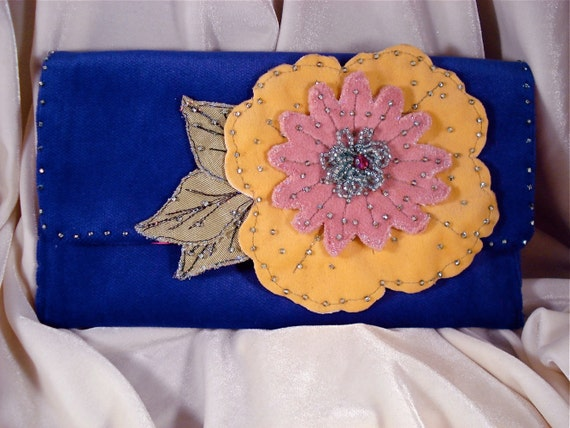 Purple Evening Clutch, Velvet Handbag, Beaded Wedding Clutch, Prom, Party Bag. Beaded Flowers, Vintage Beads, Hot Pink Satin
