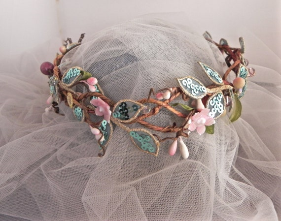 Enchanted Bridal Tiara, Rustically Elegant Wedding Crown, Sparkling Aqua & Pink Headpiece, Harvest Hair Asscssory, Boho Crown