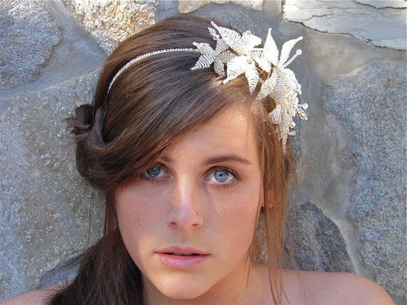 BRIDAL HEADBAND BEADED*Snow Lilies Wedding Tiara*Victorian Beaded Hair Accessory