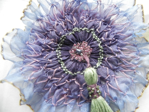 Purple and Blue Pleated Sheer Vintage Ribbon Appliqué/Corsage  Heirloom stitching with Beads and Handmade Tassel