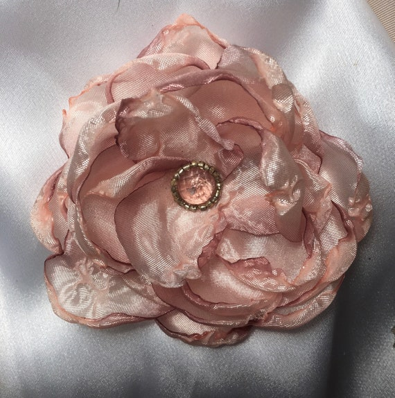 Spring Flowers, Pink Chiffon, Fabric Flower Ribbon Flower, Flower Applique, Millinery, Embellishments, Hat Making, Doll Making,Ombre Chiffon