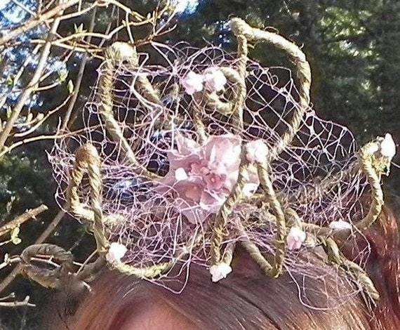 FAIRY FLOWER WEDDING Headband, Festival Fantasy Headpiece, Woodland Millinery, Floral Crown