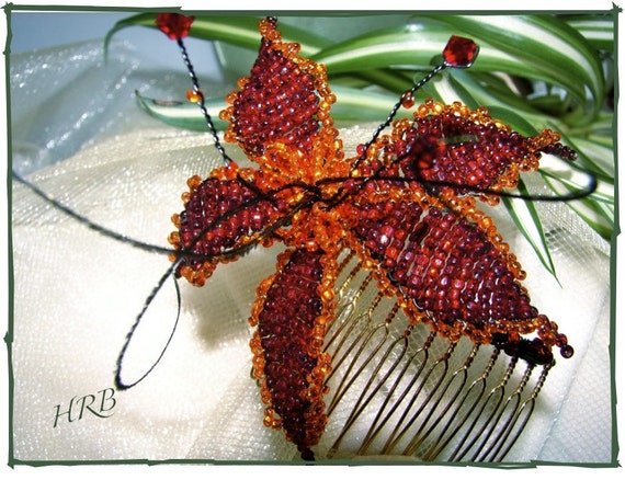 CRIMSON POINSETTIA Victorian Beaded Holiday Hair Comb