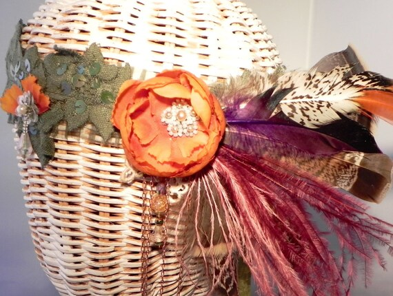 Fuchsia and Orange Autumnal Headband, Fancy Feather Headband, Floral Crown, Boho Headpiece, Woodland Crown