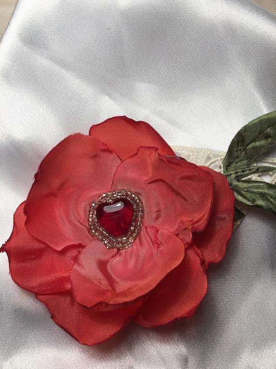 Sweet Valentine Flower, Beaded, Red Heart, Red valentine, Corsage, Hat Embellishment, Doll making,Ribbon Flower, Ribbon Work, Milliney Work