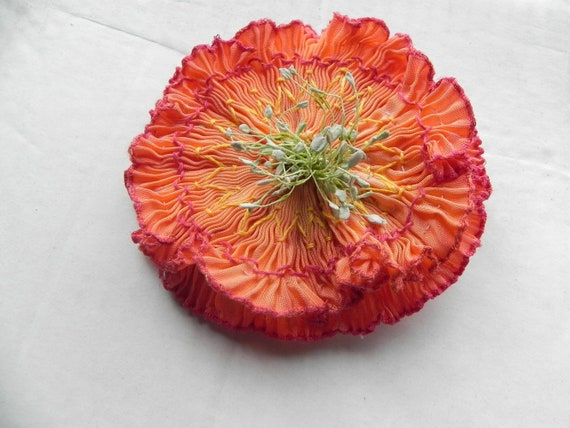 Vermillion to Peach Pleated French Ombre Ribbon Flower Appliqué , Hand embroidered with Vintage Stamen of soft Green