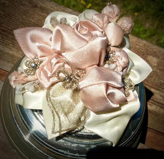 Musical Powder Box, Vintage Beaded Flowers, Gold Lace Leaves, Pink Satin Roses, Boudoir Art Box