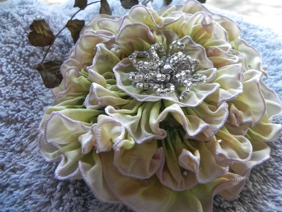 French Ombre' Ribbon Pale Pink to Green, Enchanting Millinery Appliqué, Corsage, Lapel Brooch, Bridal Flower