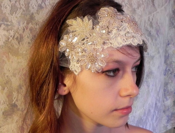 Vintage Sequin And Pearl Applique Wedding HeadPiece, 1920 Style Bandeau Bridal Headband, Ivory Floral Motif Wedding Headdress