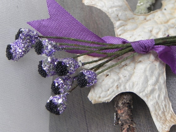 Vintage Stamens, French 1920's Design Glittered Stamens, Lilac Purple German Glass Glitter, Floral Jewelry, Millinery Supplies
