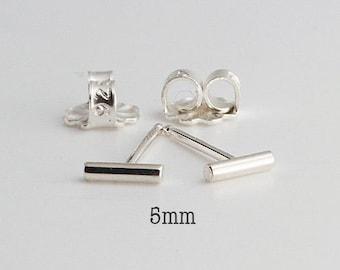 5mm Tiny Bars, Silver Bar Earrings, Bar Studs, Sterling Studs, Handmade Studs, Bar Studs Silver Stick, Everyday Earrings, 5 x 1.3mm