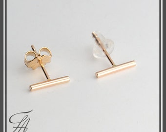 Gold Stud Earrings, Gold Bar Earrings, Gold Bars 8.5mm, Gold Studs, Bar Studs, Gold Stick, Everyday Earrings, Line Earrings, Minimalist