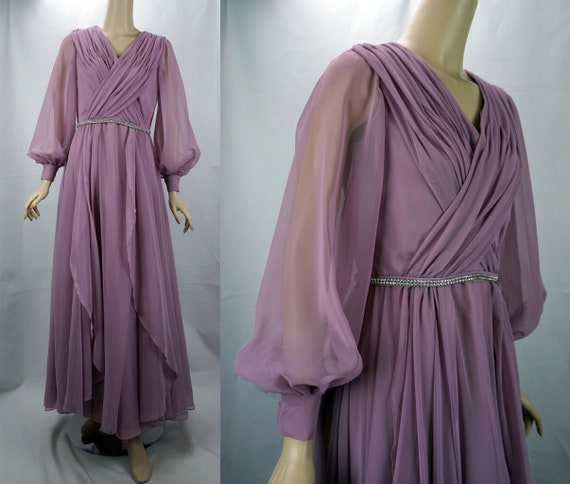 Vintage Evening Gown, 80s Formal Gown, Mauve Chiff