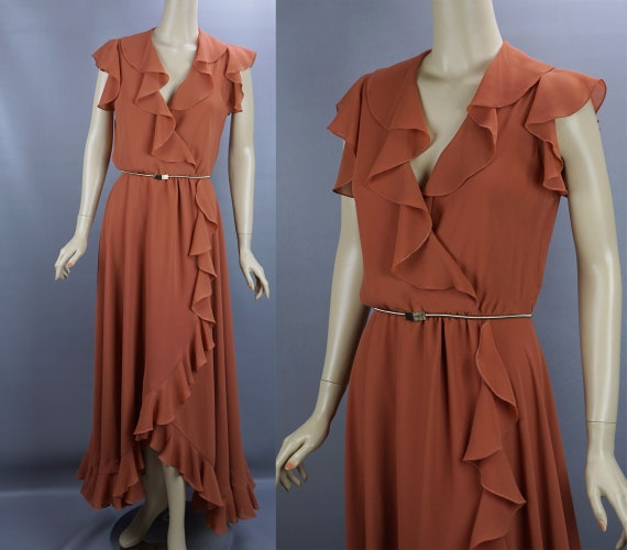 Vintage Evening Gown, Butterscotch Ruffled Gown, F