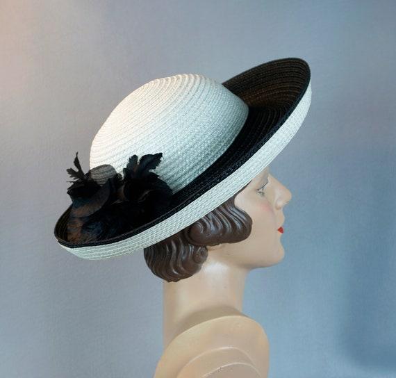 Vintage Hat, Black and White Breton, Frank Olive S