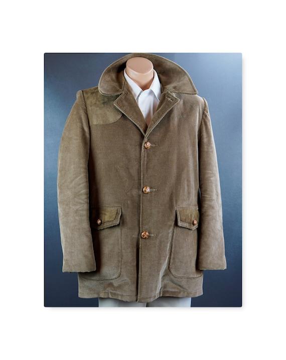 Vintage Mans Coat, Taupe Corduroy Jacket, Vintage