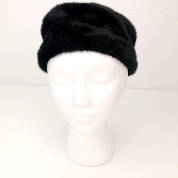 Vintage Faux Fur Clover Lane Black Pill Box Hat Fo