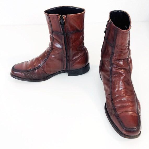 238abaefbdd69 Men's Florsheim Vintage 1960s Zip up Dress Boots in Oxblood Leather Size  6.5D
