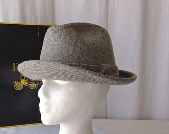 cd5e8133 Dobbs Gray Wool Hat Size 7 1/8 Original Box 1970s