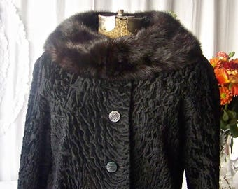 be946d811b6e8 Persian Lamb Jacket Mink Collar Black Winter Coat Vintage 1950s