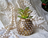 Vintage Pineapple Bejeweled Trinket Box