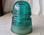 Vintage Turquoise Glass Insulator H G Co Hemingray 1880-1930