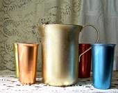 Vintage Pitcher and Cups Aluminum Pitcher Multi Color Aluminum Cups Retro Pitcher Backyard Picnic Metal Tumblers