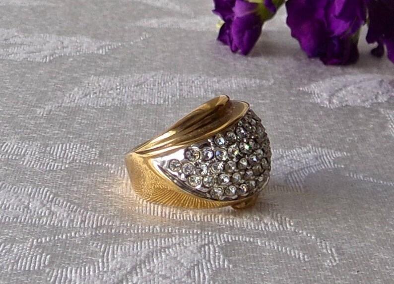 Vintage Cocktail Ring Rhinestone 14K Electroplated Ladies Size 6