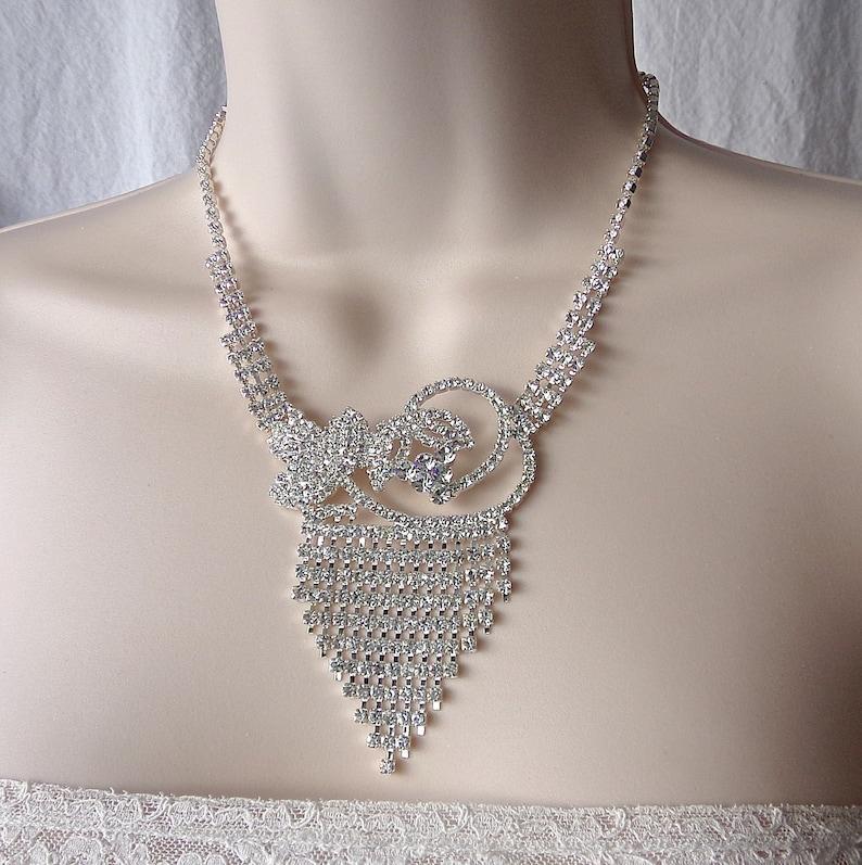 090bf6b1b Vintage Rhinestone Bib Necklace Designer Costume Jewelry | Etsy